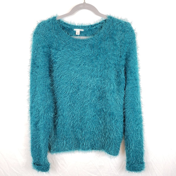 Halogen Sweaters - Halogen Teal Fuzzy Eyelash Sweater  Size L